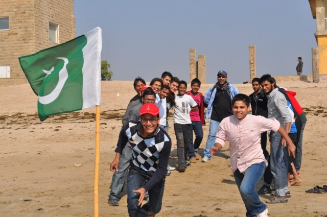 Ok Camp participants during a team building activity n Karachi
